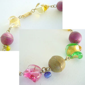 Artsfarm Studio Jewelry - Colorful Handmade Art Glass & Metal Anklet